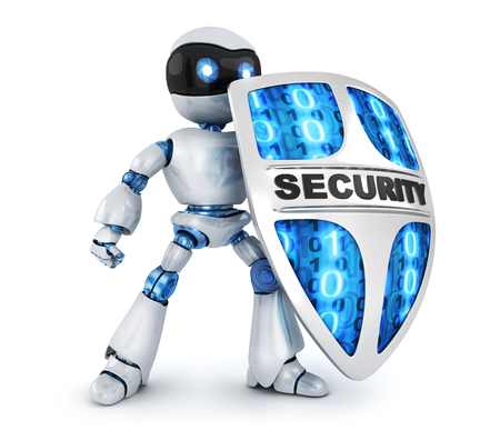 Protecting robot and shield security. 3d illustration, isolated