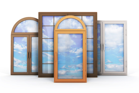 redecoration: window with reflections of the sky. 3d illustration