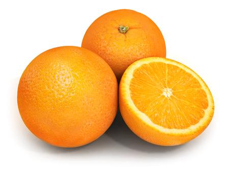 Three Orange on white background. 3d illustration