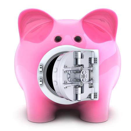 trustworthy: Piggy bank on white background. 3d illustration