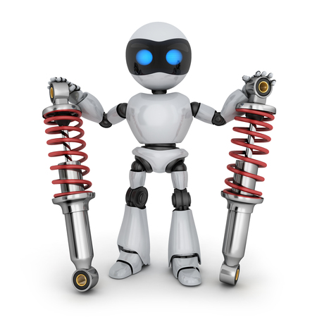 Two shock absorber car and robot. 3d illustration