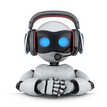 テクニカル サポート。ヘッドフォンでロボット。3 d イラストレーション