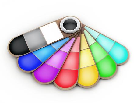 white colour: fan of colour on a white background. 3d illustration Stock Photo