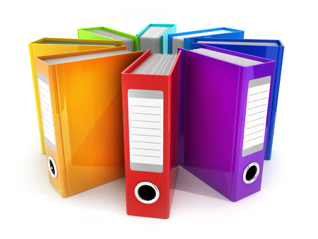 Archive many files on white background. 3d illustration