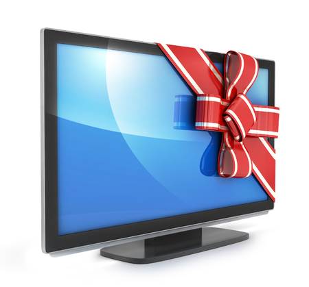 lcd: TV gift and bow on white background. 3d illustration