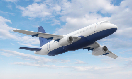 Flying airplane  in the sky. 3d illustration