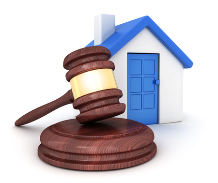 Home on white background and gavel. 3d illustration
