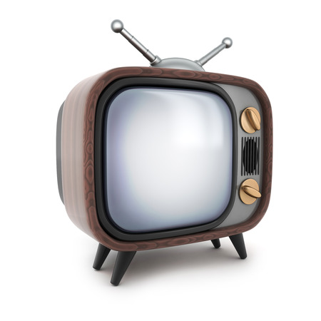 telly: Old wooden TV  on a white background. 3d illustration