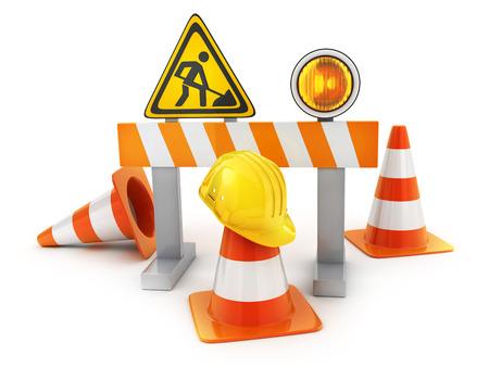 sign orange: Repair road sign and orange cones and yellow helmet. 3d illustration