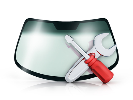 Car glass on white background and symbol repair. 3d illustration
