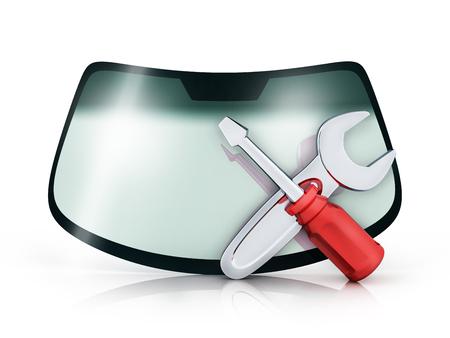 coche de cristal sobre fondo blanco y símbolo de reparación. ilustración 3d