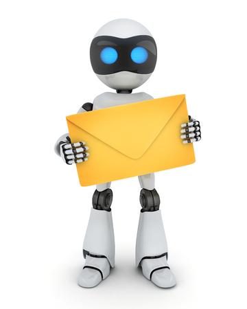 envelope: Robot and e-mail on white background. 3d illustration