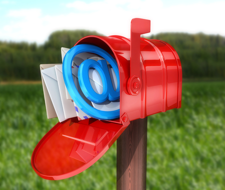 Abstract E-mail Red mailbox. 3d illustration Stock Photo