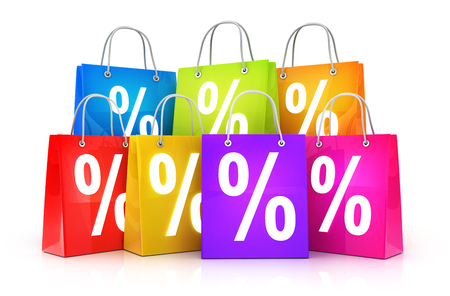 Many shop bag and discount percent. 3d illustration Stock Photo