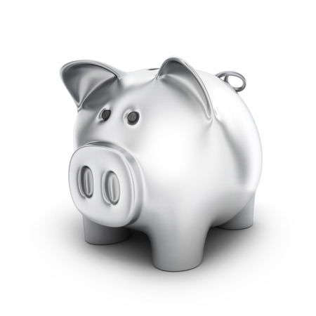 Piggy bank steel on white background. 3d illustration Stock Photo