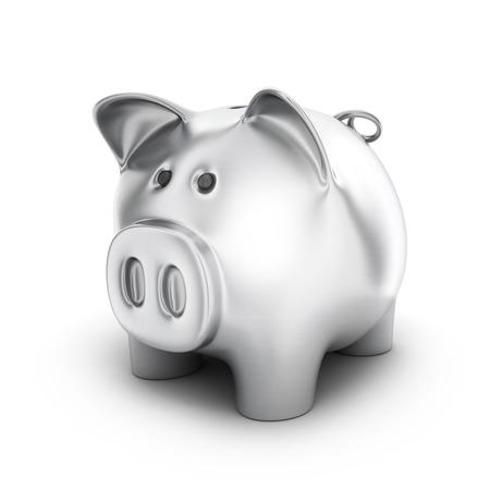 Piggy bank steel on white background. 3d illustration Stock Photo