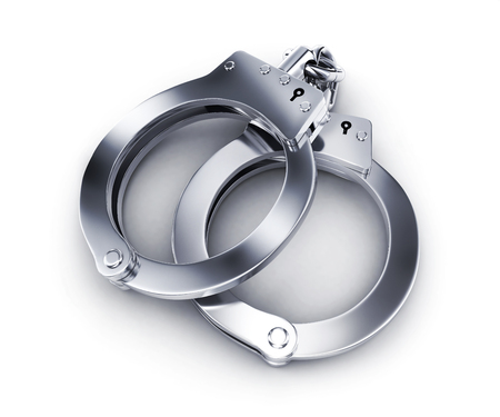 handcuffs on white background. 3d illustration