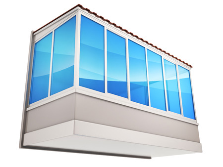 windows home: Advertising decoration and glazing of balconies. 3d illustration Stock Photo
