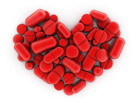 Many tablets and vitamins in shape red heart on white background. 3d illustration Stock Photo