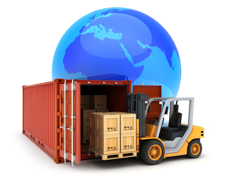 Loading red cargo container symbol. 3d illustration