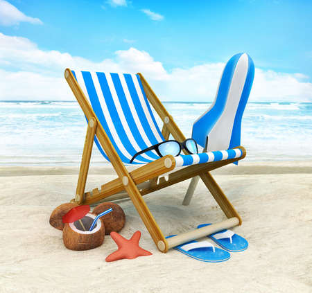 Lounger and sunshade on the beach. 3d illustration Stock Photo