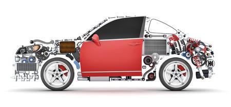 Auto di forma astratta e molte parti dei veicoli. Illustrazione 3d