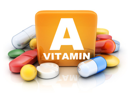 Many tablets and vitamin A on white background. 3d illustration