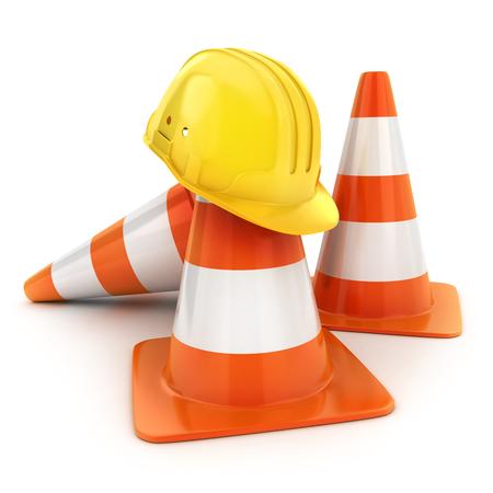obstacle: Tres conos de carretera y casco. 3d ilustración