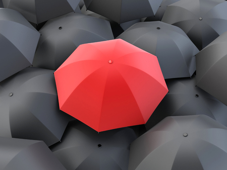 Many umbrella and one red. 3d illustration