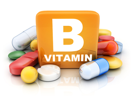 Many tablets and vitamin B on white background. 3d illustration