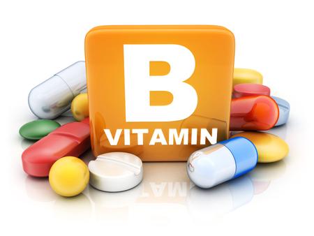 Veel tabletten en vitamine B op een witte achtergrond. 3d illustratie