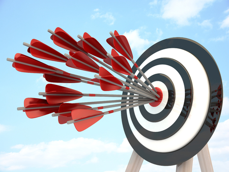 intentions: Target and many arrow, abstract success. 3d illustration