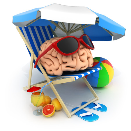 Beach bed and abstract brain rest. 3d illustration Stock Photo