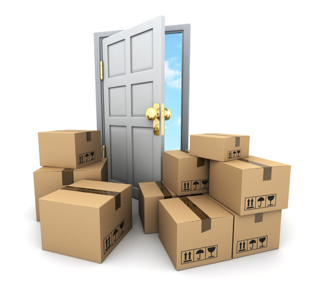 resettlement: A lot of cardboard boxes for moving and door. 3d illustration Stock Photo