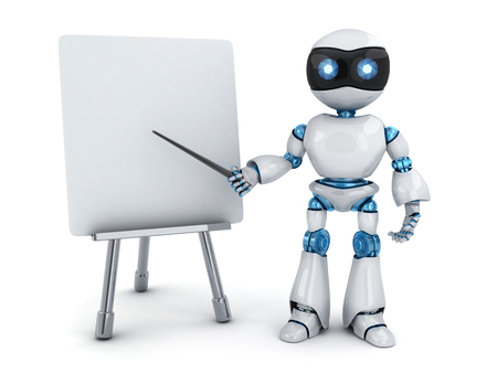 Robot e-learning and blackboard. 3d illustration