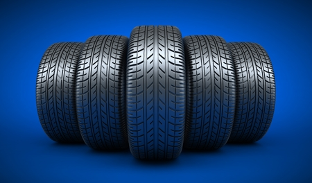 Row tyre car on blue background. 3d illustration Stock Photo