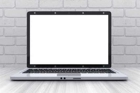 Laptop on desk and empty white screen. 3d illustration