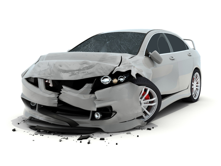 Car accident on white background. 3d illustration