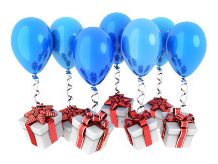 Gifts fly on balloons and white background. 3d illustration Stock Photo