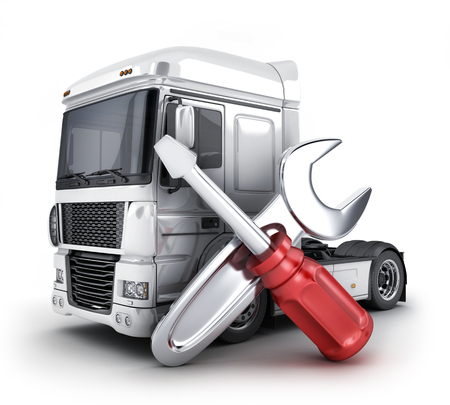Repair truck symbol and  wrench and a screwdriver on white background. 3d illustration