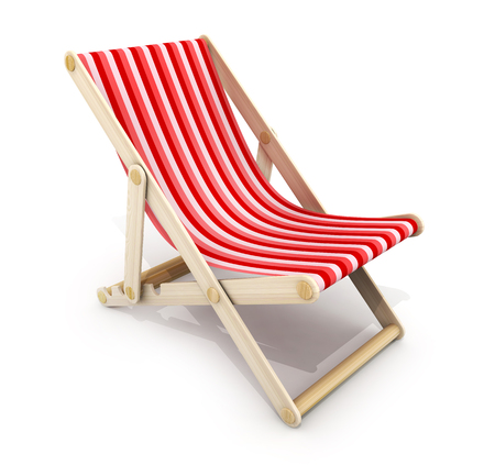 One red lounger on white background. 3d illustration Stock Photo