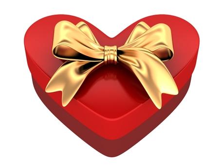Red gift in shape heart. 3d illustration