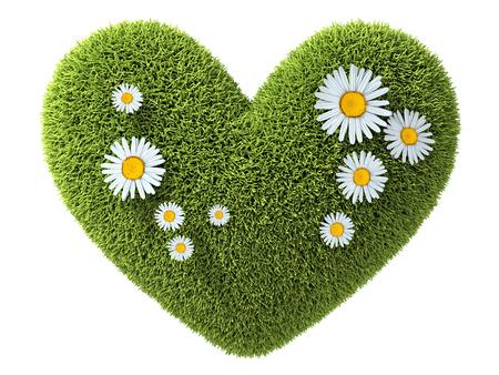 Astratto un cuore verde in erba. Illustrazione 3d Archivio Fotografico - 78222798