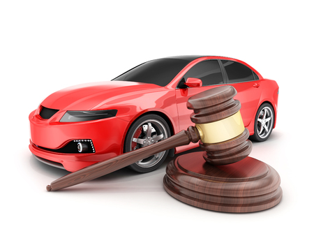 Red car on white background and auction hammer. 3d illustration Stock Photo
