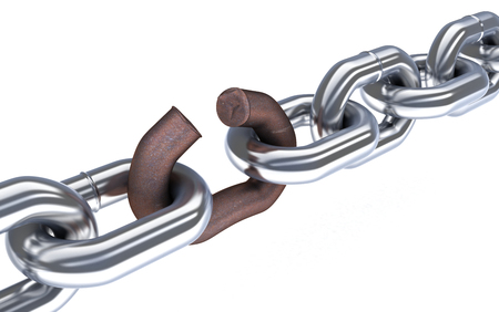 ferruginous: Chain and broken corrosion link. 3d illustration