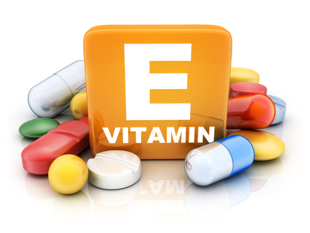 Many tablets and vitamin E on white background. 3d illustration  Stock Photo