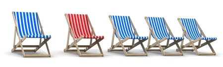 Five lounger blue and one red. 3d illustration