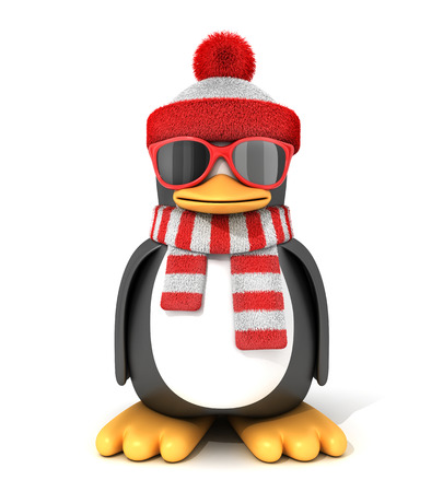 Penguin in a scarf and cap. 3d illustration