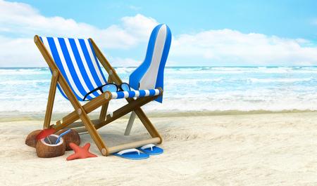 サンラウン ジャー、ビーチで日よけ。3 d イラストレーション