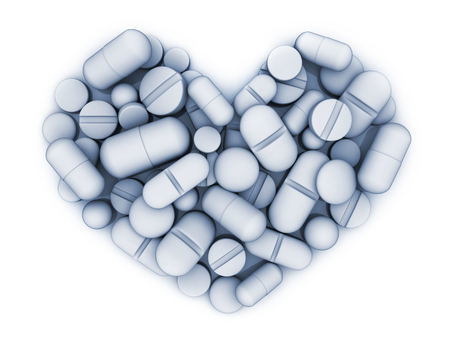 Many tablets and vitamins in shape heart on white background. 3d illustration Stock Illustration - 80939440